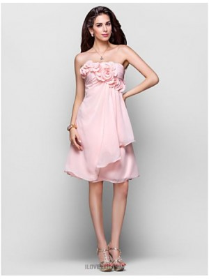 A Line Princess Strapless Knee Length Chiffon Australia Cocktail Party Homecoming Dress with Draping Flower Ruching