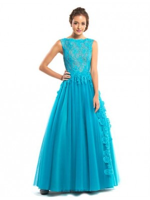 A Line Bateau Neck Floor Length Lace Tulle Australia Formal Evening Dress with Lace