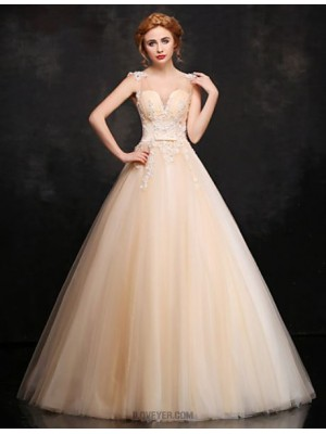 Ball Gown V neck Floor Length Lace Satin Tulle Prom Dress with Beading
