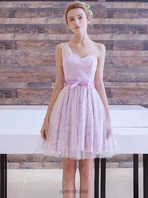 A Line Sexy One Shoulder Short Mini Lace Australia Cocktail Party Prom Dress with Bow Lace Sash Ribbon