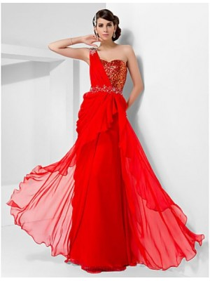 Sheath Column Sexy One Shoulder Sweetheart Floor Length Chiffon Sequined Prom Dress with Beading