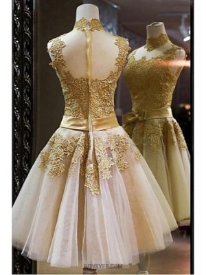 A Line High Neck Short Mini Lace Tulle Prom Dress with Appliques