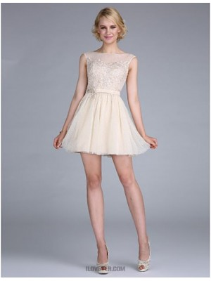 A Line Bateau Neck Short Mini Tulle Australia Cocktail Party Homecoming Prom Dress with Beading Appliques Sash Ribbon