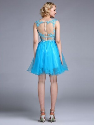 A Line Bateau Neck Knee Length Tulle Australia Cocktail Party Homecoming Prom Dress with Beading Appliques