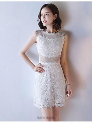 A Line Jewel Neck Knee Length Lace Australia Cocktail Party Dress with Lace