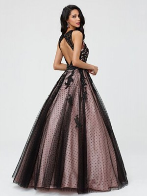 Ball Gown Jewel Neck Floor Length Taffeta Tulle Australia Formal Evening Quinceanera Dress with Beading Lace Pleats