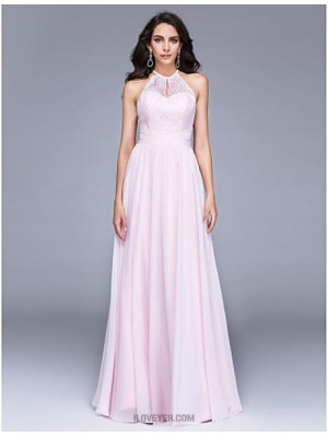 A Line Jewel Neck Floor Length Chiffon Lace Australia Formal Evening Dress with Lace Ruching