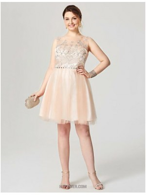 A Line Scoop Neck Knee Length Tulle Australia Cocktail Party Homecoming Dress with Crystal Detailing Pleats