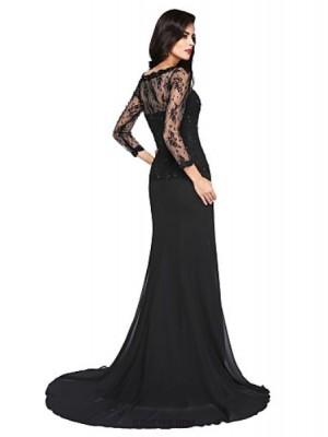 A Line Jewel Neck Court Train Chiffon Lace Australia Formal Evening Dress with Beading Appliques Split Front
