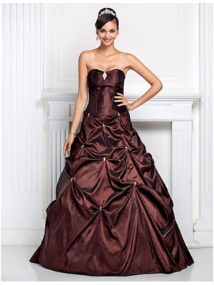 A Line Ball Gown Strapless Sweetheart Floor Length Taffeta Quinceanera Dress with Crystal