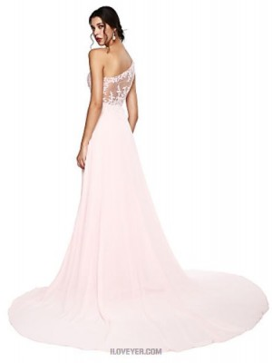 A Line Sexy One Shoulder Court Train Chiffon Prom Australia Formal Evening Dress with Appliques Pleats Bandage
