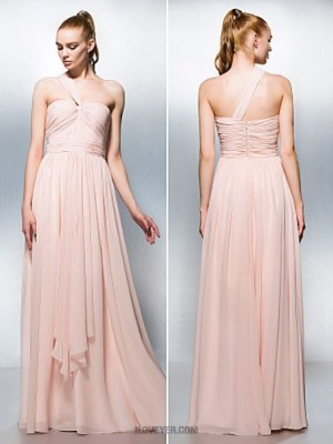 A Line Sexy One Shoulder Sweetheart Floor Length Chiffon Prom Dress
