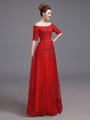 A Line Off the shoulder Floor Length Satin Australia Formal Evening Dress with Pockets
