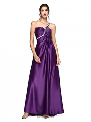 A Line Sexy One Shoulder Sweep Brush Train Stretch Satin Australia Formal Evening Dress with Bow Crystal Detailing Ruching