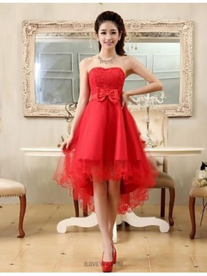 A Line Princess Strapless Asymmetrical Chiffon Lace Australia Cocktail Party Homecoming Dress with Bow Lace Sash Ribbon