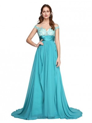 A Line Off the shoulder Sweep Brush Train Chiffon Lace Australia Formal Evening Dress with Lace Sash Ribbon Pleats