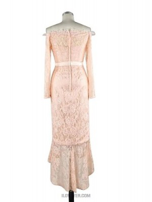 Mermaid Trumpet Bateau Neck Asymmetrical Lace Charmeuse Prom Australia Formal Evening Dress with Lace Sash Ribbon