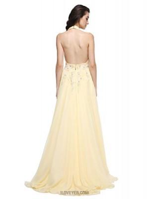 A Line Halter Sweep Brush Train Chiffon Prom Australia Formal Evening Dress with Beading Appliques Sash Ribbon Ruching