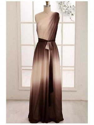 A Line Sexy One Shoulder Floor Length Chiffon Evening Dress with Ribbon