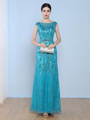 A Line Bateau Neck Floor Length Tulle Australia Formal Evening Dress with Sequins
