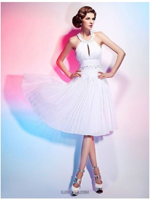 A Line Princess Halter Knee Length Chiffon Graduation Australia Cocktail Party Dress with Beading Draping Ruching Pleats