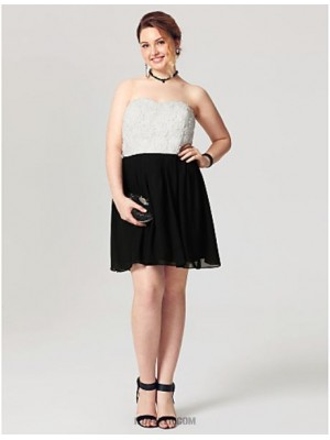 A Line Strapless Short Mini Chiffon Lace Australia Cocktail Party Homecoming Dress with Flower Pleats