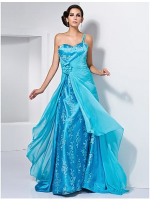 A Line Princess Sexy One Shoulder Sweetheart Sweep Brush Train Chiffon Prom Dress with Flower