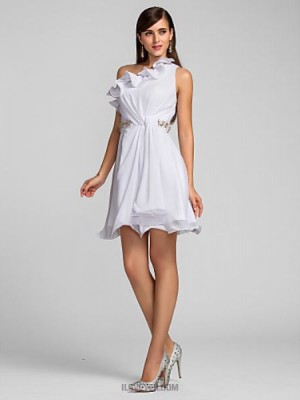 A Line Sexy One Shoulder Short Mini Chiffon Prom Dress with Pearl Detailing Side Draping Ruffles
