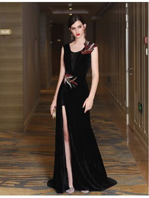 Mermaid Trumpet V neck Sweep Brush Train Satin Velvet Evening Dress with Crystal