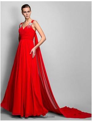 A Line Princess Straps Floor Length Chiffon Evening Dress with Beading