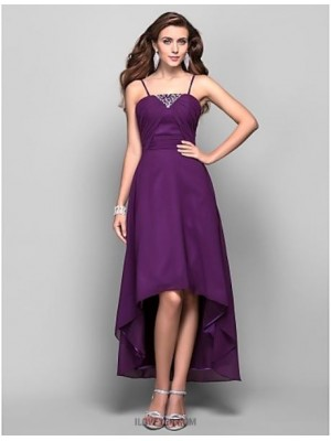 A Line Princess Spaghetti Straps Tea Length Asymmetrical Chiffon Prom Dress with Crystal