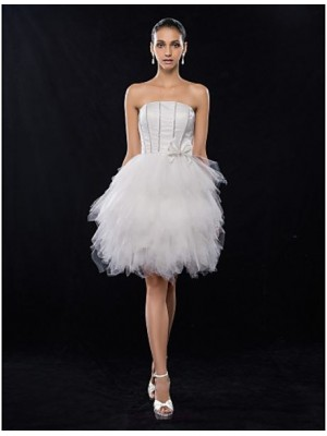 A Line Strapless Knee Length Satin Tulle Graduation Australia Cocktail Party Homecoming Prom Holiday Dress with Beading Bow