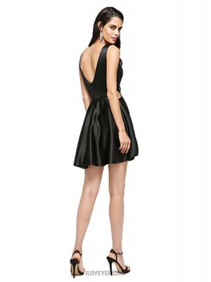 A Line Jewel Neck Short Mini Stretch Satin Australia Cocktail Party Homecoming Prom Dress with Pleats
