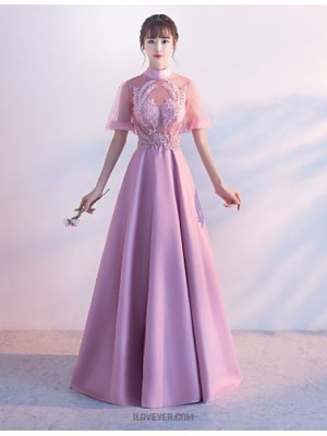 A Line High Neck Floor Length Jersey Australia Formal Evening Wedding Party Dress with Beading