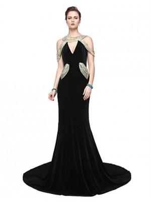 Sheath Column V neck Floor Length Velvet Australia Formal Evening Dress with Sequins Pleats