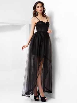A Line Princess Spaghetti Straps Sweetheart Floor Length Asymmetrical Satin Tulle Prom Dress with Draping