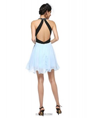 A Line Jewel Neck Short Mini Cotton Australia Cocktail Party Homecoming Prom Dress with Beading