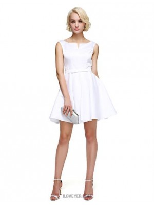 A Line Notched Short Mini Satin Australia Cocktail Party Homecoming Prom Dress with Bow Sash Ribbon Pleats