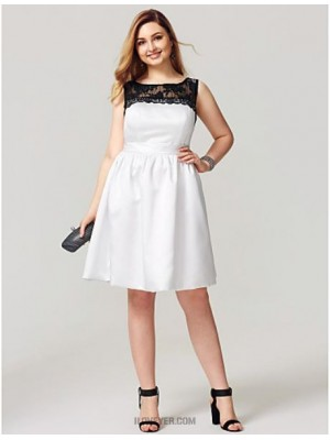 A Line Jewel Neck Knee Length Lace Satin Australia Cocktail Party Homecoming Dress with Sash Ribbon Pleats