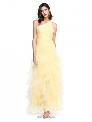 Mermaid Trumpet Sexy One Shoulder Floor Length Organza Australia Formal Evening Dress with Side Draping Ruching