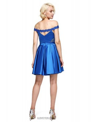 A Line Off the shoulder Short Mini Stretch Satin Australia Cocktail Party Homecoming Prom Dress with Beading