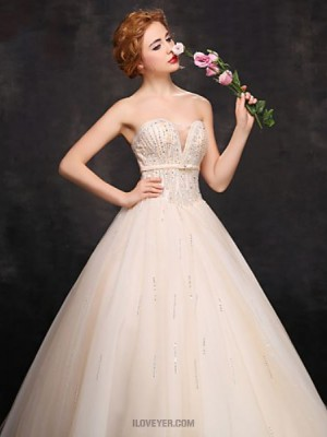 Ball Gown Sweetheart Floor Length Lace Tulle Prom Dress with Beading