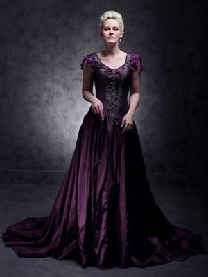 A Line Ball Gown Princess V neck Court Train Taffeta Quinceanera Dress with Beading