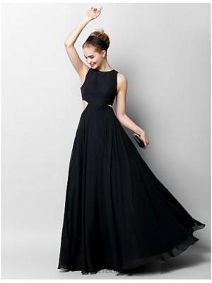 A Line Jewel Neck Floor Length Chiffon Australia Formal Evening Dress with Pleats