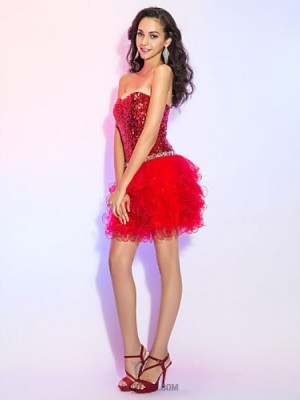 A Line Princess Sweetheart Short Mini Tulle Sequined Australia Cocktail Party Prom Dress with Crystal Detailing Sequins
