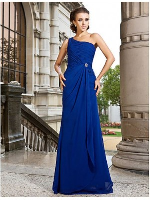 A Line Princess Sexy One Shoulder Sweep Brush Train Chiffon Prom Dress with Crystal