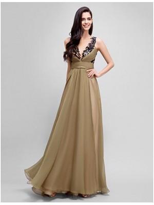 A Line Jewel Neck Floor Length Chiffon Satin Australia Formal Evening Dress with Sash Ribbon Sequins Side Draping