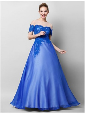 A Line Bateau Neck Floor Length Chiffon Lace Tulle Prom Australia Formal Evening Dress with Appliques Lace