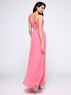 A Line Sexy One Shoulder Ankle Length Chiffon Prom Australia Formal Evening Dress with Criss Cross