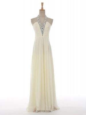 A Line Halter Floor Length Chiffon Australia Formal Evening Dress with Beading